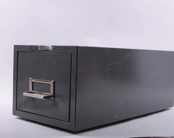 Black Filing Cabinet, Single Drawer, Metal, Office, Library Card Catalog, Metal, Grey ~ The Pink Room ~  170218