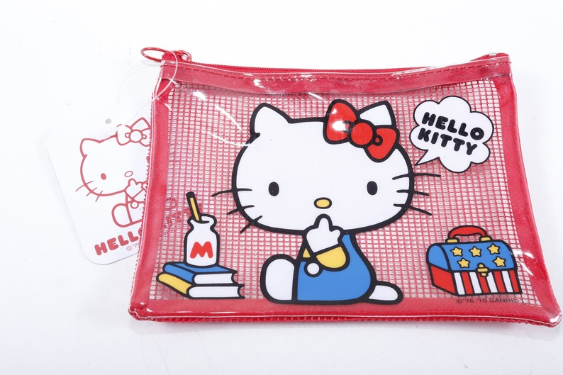83fbfd575 Sanrio Hello Kitty Red Transparent Makeup Bag Pencil Case | Etsy