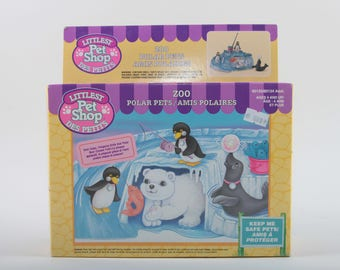 Zoo Polar Pets, Vintage, Littlest Pet Shop, Kenner, Toys, Boxed, Polar Bear, Penguins Seal Ice cave, Plastic Playset ~ The Pink Room ~170422