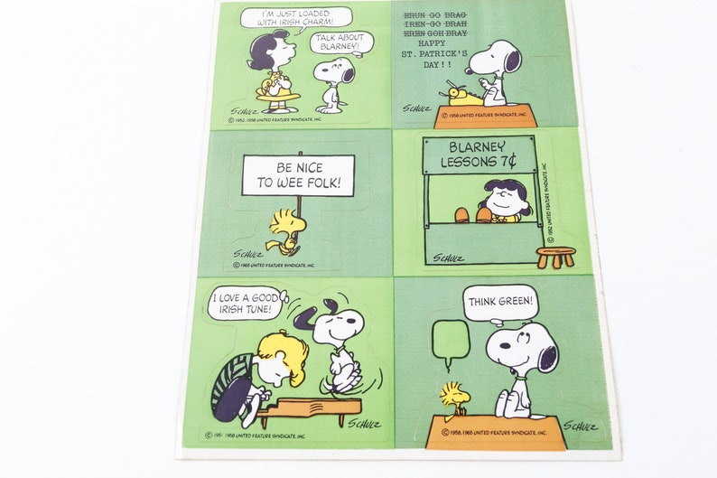 Vintage Snoopy Schulz Peanuts Characters Irish Cartoon Green Stickers Sheet Dog Pictures Children Vintage Toys R 11