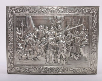 "Vintage, Rembrandt, Dordrecht, Holland, Victoria, Biscuit Tin, Box, 12"" X 9"", Silver, Frence War Scene ~ The Pink Room ~ 161022"