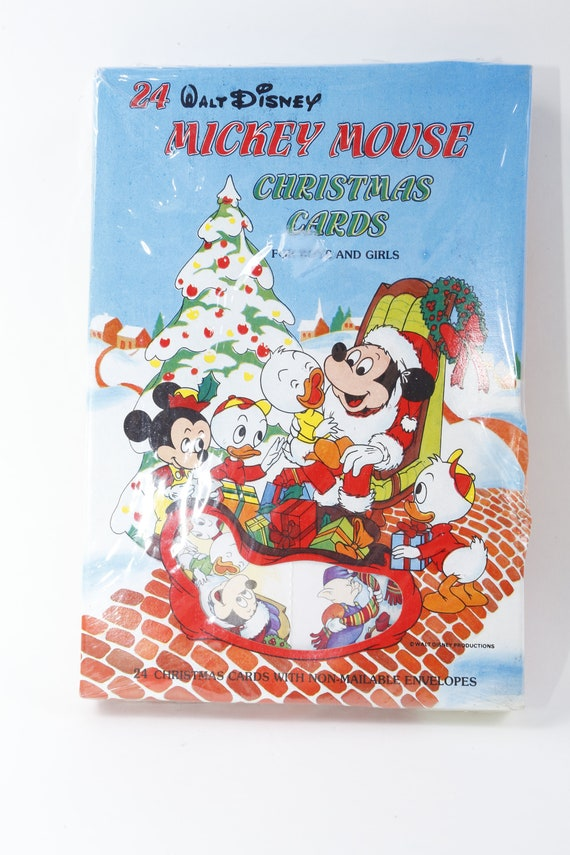 Disney Christmas Cards.Walt Disney Mickey Mouse Christmas Cards Envelopes Set Holiday Design Children Vintage Toys 161008