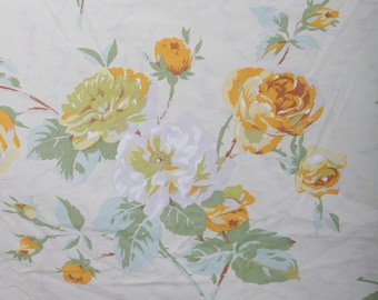 Vintage, Yellow Roses, White, Queen Size, Flat Sheet, Flowers, Fabric, Children, Collection, 60s 70s 80s, Fabric, Floral, Flowers ~ 170831