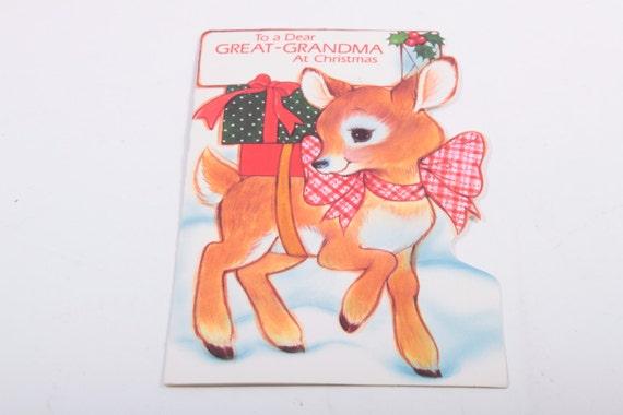 Vintage carte de voeux Noël Deer, chère grand-mère, arrière-grand-mère, renne, cerf, cadeaux, neige ~ Y-16