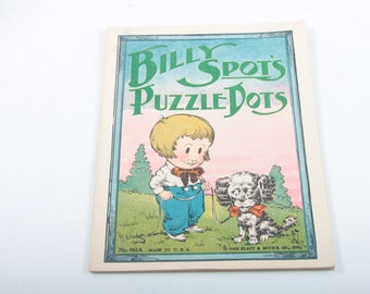 Billy Spots Puzzle Dots, Vintage, Story, Book, Children's, Connect the Dots, Illustrations, Rhymes, Fun, Puzzles ~ The Pink Room ~ 170505