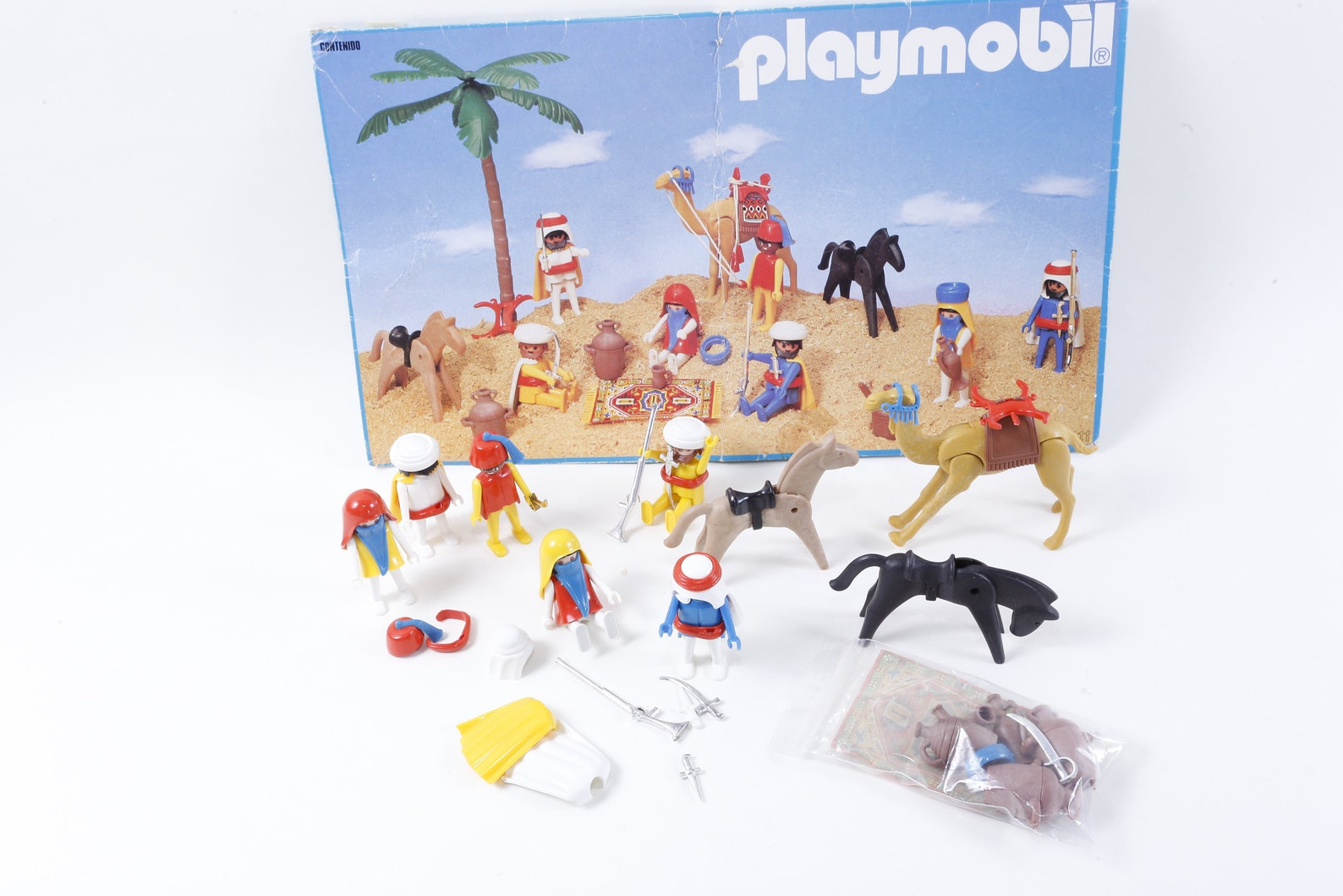 Vintage, 1977, Contenido, Playmobil, Toy, Set, Figures, Camel, Horse, People, Eastern Desert, Collection, Children, Camel, Desert ~ 170125