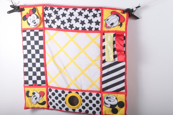 90s Disney Activity Baby Blanket Coverlet White Multicolored Cartoon Pictures 27x27 Children Collection Vintage Nostalgia ~ 161029
