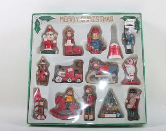 Vintage, Wooden, Christmas, Tree, Ornaments, Set, Snowman, Teddy Bears, Santa, Candy Cane, Sledge, Train, Sock, In a box ~ 170426