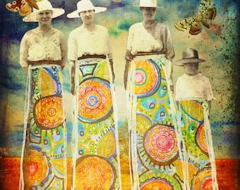 Sisterhood - Digital Collage Vintage Photo Digital Download