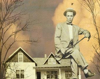 Dapper Dude Housesitting Digital Collage Digital Download