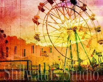 Digital Collage Fantasy Ferris Wheel Carnival Digital Download