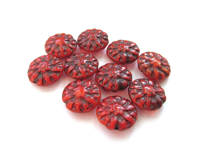 Deep Red Dahlia Flower Czech Glass Lentil Beads With Black Etsy