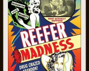 Reefer Madness Poster Tie Clip Reefer Madness Tie Tack Rockabilly Stoner Accessory-Dispensary Gift Retro Cannabis Propaganda Lapel Pin