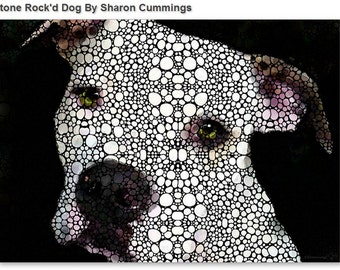 Image of: Ancient Dog Art Print From Painting Cute Dogs Pittie Pit Bull Pitty Pitbull Puppy Love Canvas Ready To Hang Large Artwork Animals Black White Mosaic Etsy Pitbull Mosaic Etsy