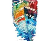 Colorful Feather Art Cherokee Prayer PRINT from Painting American Indian Primary Color CANVAS House Warming Gift Large Artwork Home Blessing