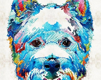 West Highland Terrier Art Colorful Dog Westie PRINT From Painting Rainbow Pet Doggie Pop CANVAS Ready To Hang Large Fun Cute Love Animal