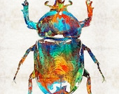 Colorful Beetle Scarab Art Bug Egyptian PRINT from Painting Symbol Primary Color Large Big CANVAS Rainbow Insect Artwork Egypt Hieroglyphics