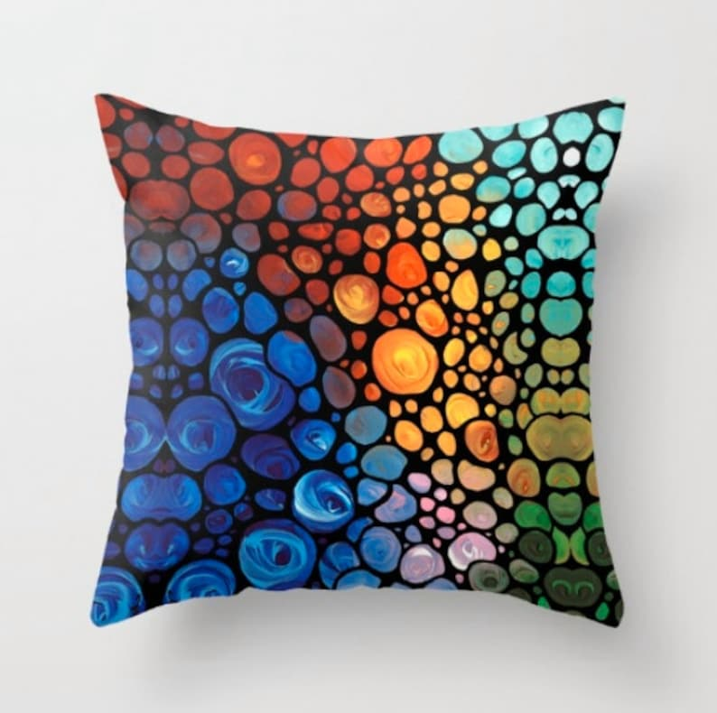 Throw Pillow Abstract Art COVER Design For Your Home Modern Yellow Orange Mosaic Blue Red Decor Artsy Living Room Bedroom Bedding
