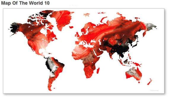 World Map Art Print From Painting White Red Black Travel Earth Etsy