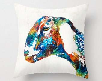 Throw Pillow Colorful Goat Art COVER Design Home Sofa Bed Chair Couch Decor Fun Milk Happy Country Room Bedroom Farm Nursery Cute Animal