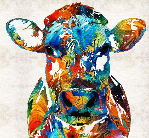 Colorful Cow Animal Print Art From Painting Primary Colors Farm Dairy Milk Abstract Canvas Ready To Hang Large Artwork Big Cows Moo Texas