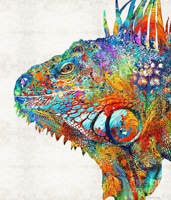 colorful iguana art print from painting cute lizard reptile etsy