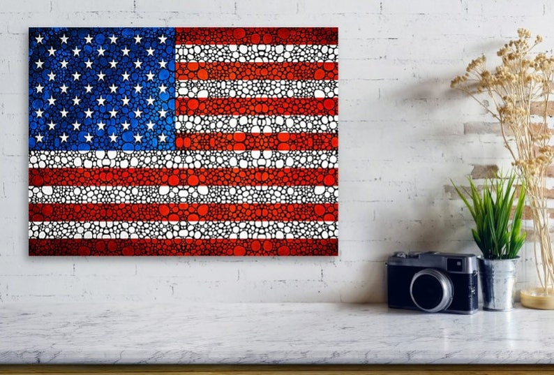 American Flag Print from Painting usa Red White Blue Stars ...