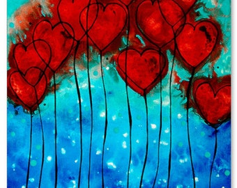 Romantic Heart Art PRINT Hearts On Fire Love Red And Blue Flower Gift Painting Abstract Canvas Romance Lovers Wedding Engagement Anniversary