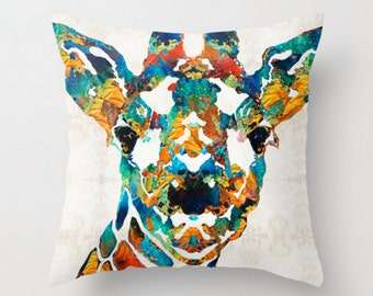 Throw Pillow Colorful Giraffe Art COVER Design Home Sofa Bed Chair Couch Decor Artsy Decorating Made Easy Living Room Bedroom Zoo Animal