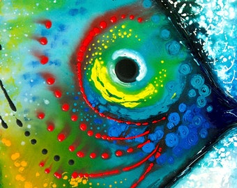 Tropical Fish Art Print from Painting Colorful Beach Home Ocean Sea CANVAS Ready To Hang Large Artwork Fishy Fun Blue Aqua Yellow Green Red