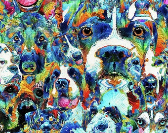 Colorful Dog Lover Pet Art PRINT from Painting Dogs Animal CANVAS Ready To Hang Large Artwork Canine Vet Veterinarian Veterinary Doggie Gift