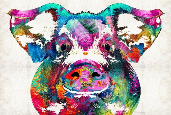 Colorful Pig Art Print From Painting Bacon Pork Porcine Farm Etsy