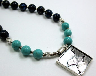 Turquoise Gemstone Necklace, Sterling Silver, Gift for Her, Karen Hill Tribe Silver, Running Bird, Christmas Necklace