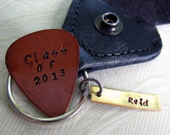 Personalized Graduation Guitar Pick Keychain, Hand Stamped Custom Keychain, Graduation Gift, Copper Guitar Pick, Class of 2016