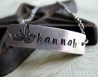 Personalized Hand Stamped Bracelet - Classic I.D. Style, Custom Name, Brushed Finish, Stainless Steel Chain