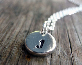 Personalized initial necklace, initial charm necklace hand stamped jewelry, gift for mom, letter necklace, momogram jewelry, Christmas Gift