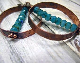 Hand Hammered Copper Hoop Earrings, Artisan Hoops, Mothers Gift, Rustic Copper, Boho Earrings, Womens Earrings, Gift for Her