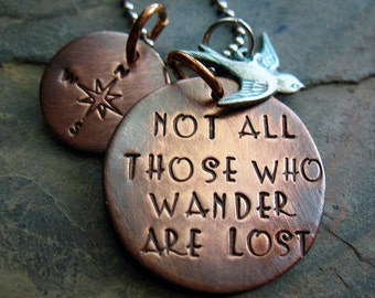 Not All Those Who Wander Are Lost - Hand Stamped,  Rustic Copper Necklace, Silver Swallow Charm, Travel Necklace, Blue Bird, Compass Rose