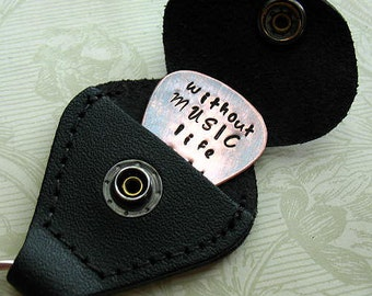 Hand Stamped Without Music Life Would B Flat, Fathers day Gift, Graduation Gift,  Copper Guitar Pick Key Chain, Black Leather Case