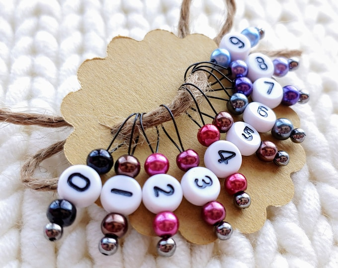 Small 5mm Knitting Needles Snag Free Stitch Markers Fits up to Size US 8 K37 Set of 10 -Reds Purples and Browns with Numbers