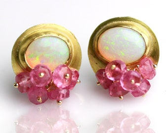Australian Opal Gold Studs with Pink Sapphire Clusters