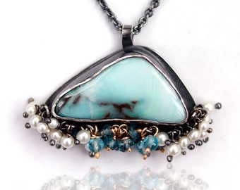 Soft Teal Blue Boulder Opal with Pearl and Topaz Fringe