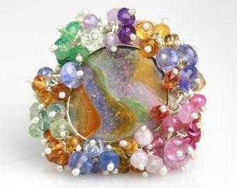 Color Swirl Boulder Opal Ring with Full Fringe. Size 8-8 1/2