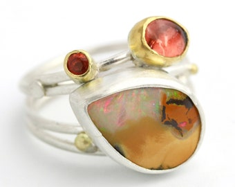 Apricots and Caramel Boulder Opal Swirled Band Ring. Size 7 1/2