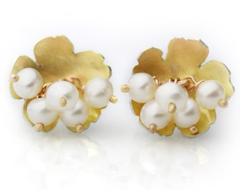 Golden Daisy Post Earrings with Pearl Clusters