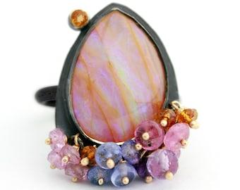Mango Stripe Opal with Gemstone Fringe. Size 7.