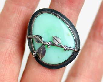 Chrysoprase Ring with Midnight Vine. Size 8.