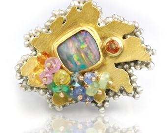 Pastel Stripes Boulder Opal Daisy Ring. Size 7 1/2 to 8