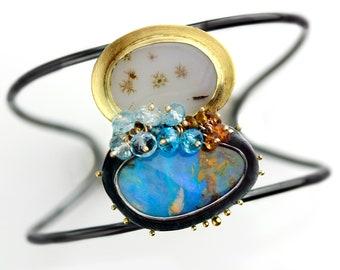 Blue Skies Boulder Opal and Starburst Agate Pairing Cuff