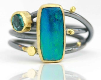 Blue Green Opal and Teal Kyanite Ring with Swirled Band. Size 7 3/4.